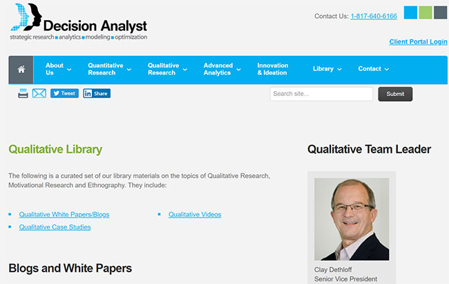 Decision Analyst Qualitative Library Online